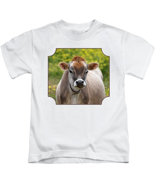 Funny Jersey Cow -square Kids T-Shirt by Gill Billington