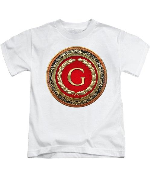 G - Gold Vintage Monogram On White Leather Kids T-Shirt