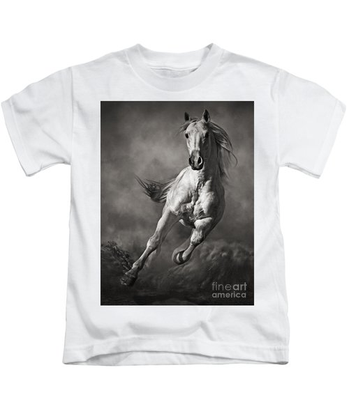Galloping White Horse In Dust Kids T-Shirt
