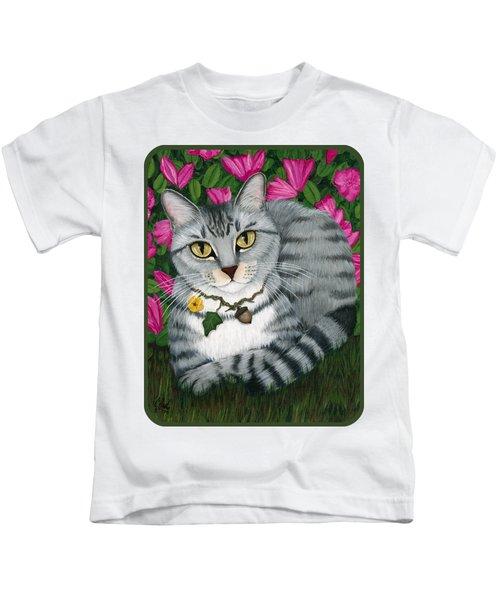 Garden Cat - Silver Tabby Cat Azaleas Kids T-Shirt
