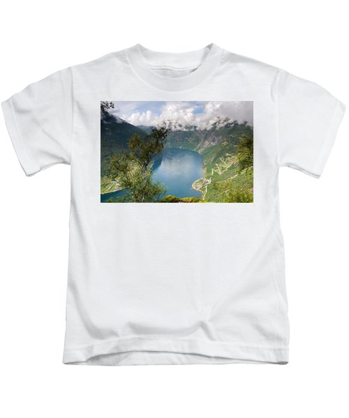 Geirangerfjord With Birch Kids T-Shirt