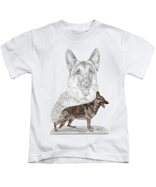 German Shepherd Art Print - Color Tinted Kids T-Shirt