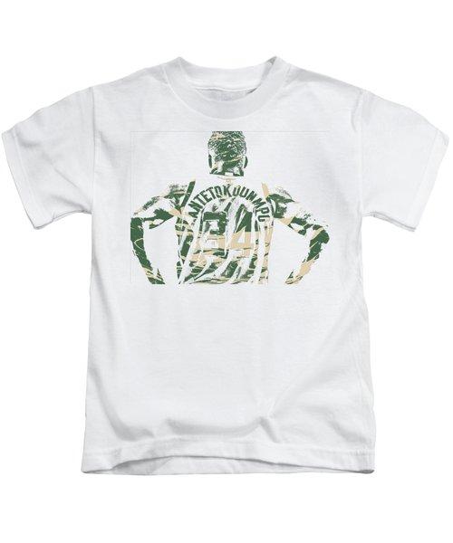 Giannis Antetokounmpo Milwaukee Bucks Pixel Art 22 Kids T-Shirt