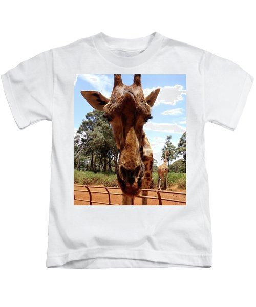 Giraffe Getting Personal 6 Kids T-Shirt