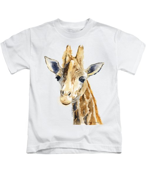 Giraffe Watercolor Kids T-Shirt by Melly Terpening