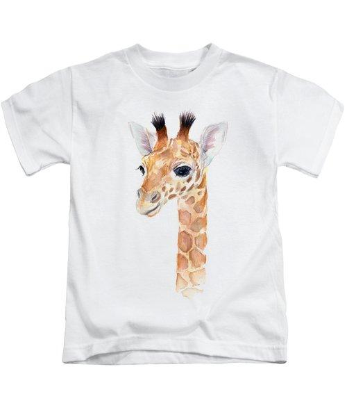 Giraffe Watercolor Kids T-Shirt by Olga Shvartsur
