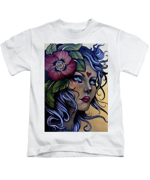 Girl With Poppy Flower Kids T-Shirt