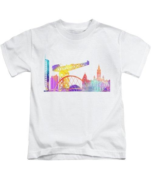 Glasgow Landmarks Watercolor Poster Kids T-Shirt