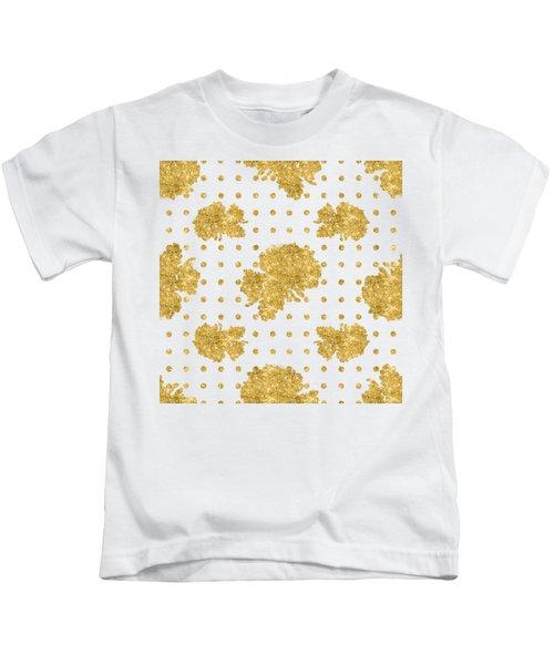 Golden Gold Blush Pink Floral Rose Cluster W Dot Bedding Home Decor Kids T-Shirt