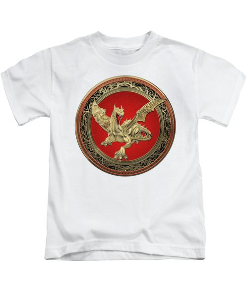Golden Guardian Dragon Over White Leather Kids T-Shirt by Serge Averbukh