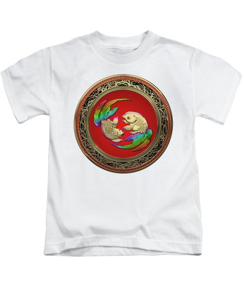 Golden Japanese Koi Goldfish Over White Leather Kids T-Shirt