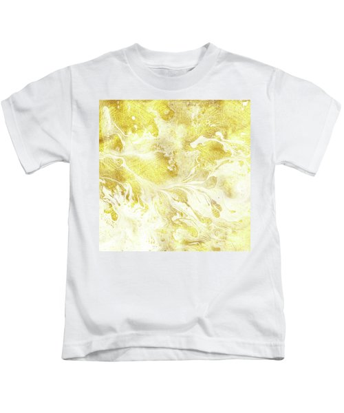 Golden Marble I Gold And White Abstract Art Kids T-Shirt