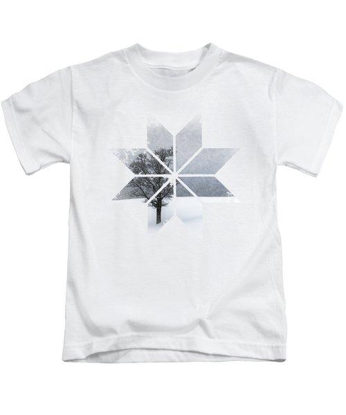 Graphic Art Snowflake Lonely Tree Kids T-Shirt by Melanie Viola