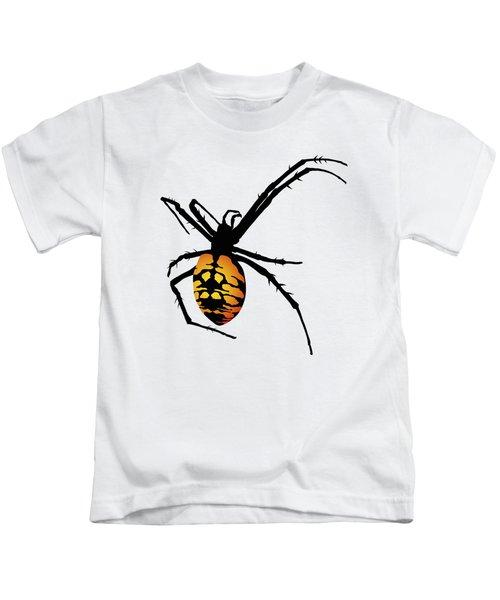 Graphic Spider Black And Yellow Orange Kids T-Shirt
