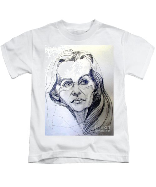 Graphite Portrait Sketch Of A Woman With Glasses Kids T-Shirt