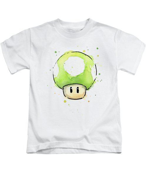 Green 1up Mushroom Kids T-Shirt by Olga Shvartsur