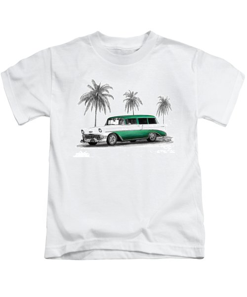Green 56 Chevy Wagon Kids T-Shirt