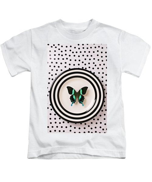 Green And Black Butterfly On Plate Kids T-Shirt