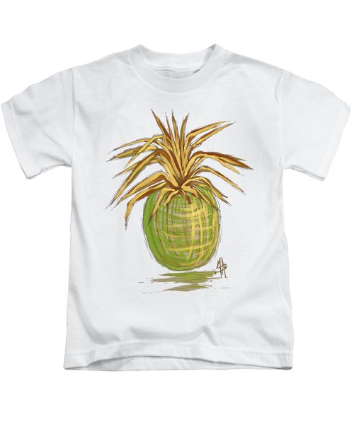 Green Gold Pineapple Painting Illustration Aroon Melane 2015 Collection By Madart Kids T-Shirt