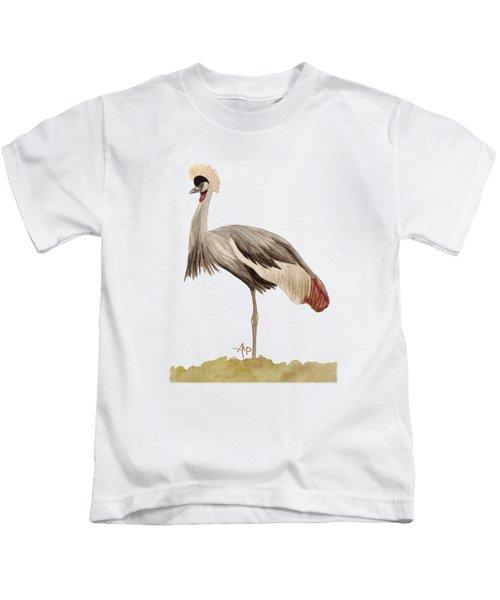 Grey Crowned Crane Kids T-Shirt by Angeles M Pomata