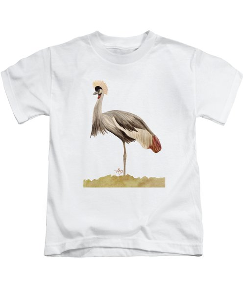 Grey Crowned Crane Kids T-Shirt