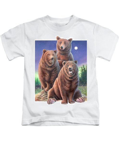 Grizzly Bears In Starry Night Kids T-Shirt
