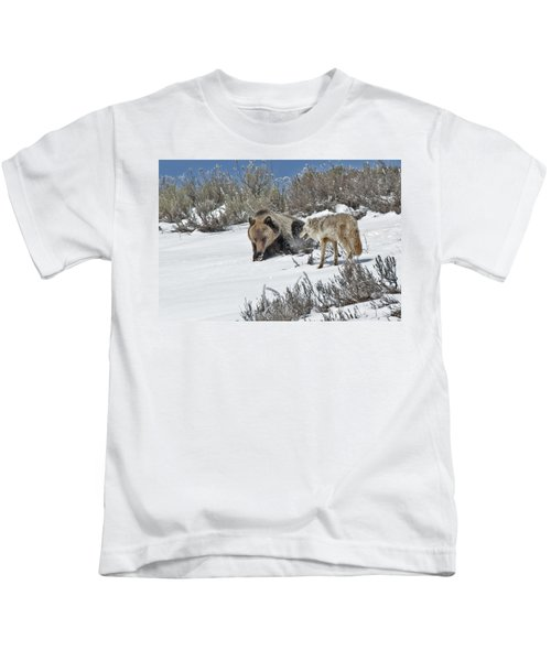 Grizzly With Coyote Kids T-Shirt