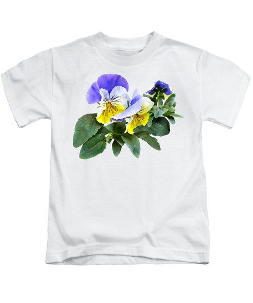Group Of Yellow And Purple Pansies Kids T-Shirt