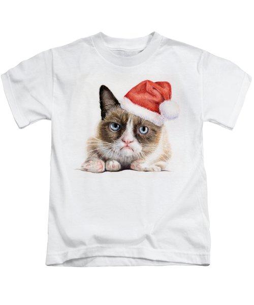Grumpy Cat As Santa Kids T-Shirt