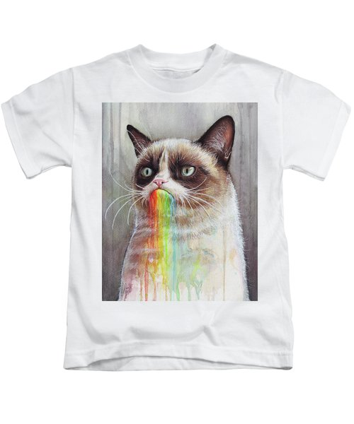 Grumpy Cat Tastes The Rainbow Kids T-Shirt