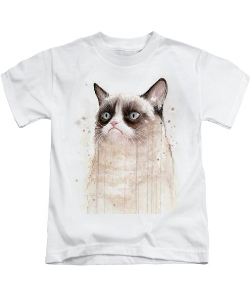 Grumpy Watercolor Cat Kids T-Shirt