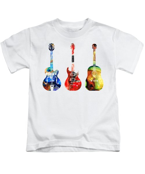 Guitar Threesome - Colorful Guitars By Sharon Cummings Kids T-Shirt by Sharon Cummings