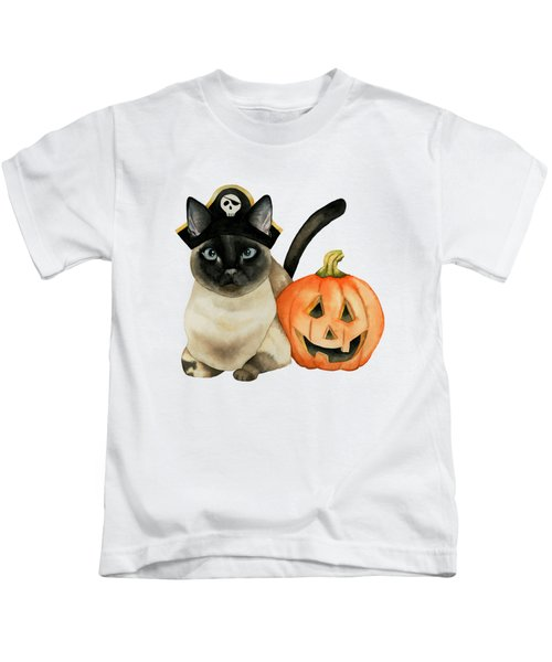 Halloween Siamese Cat With Jack O' Lantern Kids T-Shirt