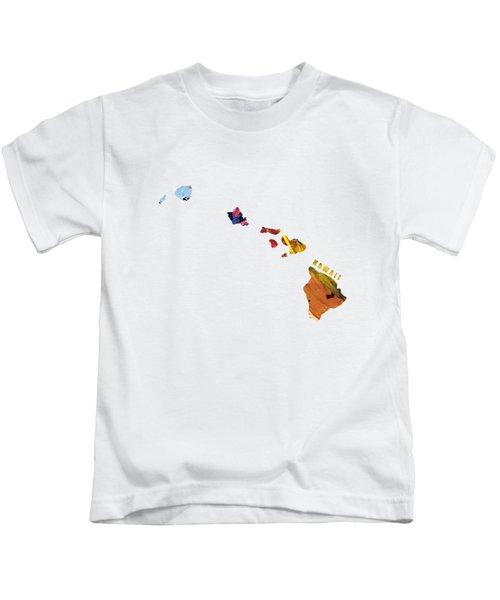 Hawaii Map Art - Painted Map Of Hawaii Kids T-Shirt