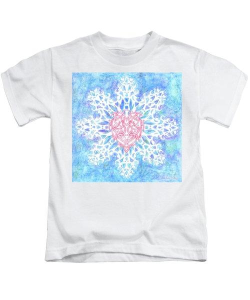 Heart In Snowflake Kids T-Shirt