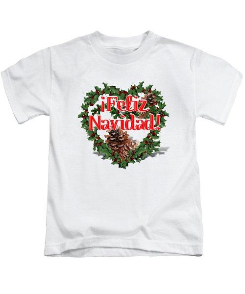 Heart Shaped Wreath - Feliz Navidad  Kids T-Shirt