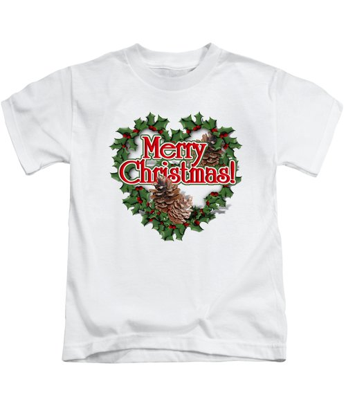 Heart Shaped Wreath - Merry Christmas  Kids T-Shirt