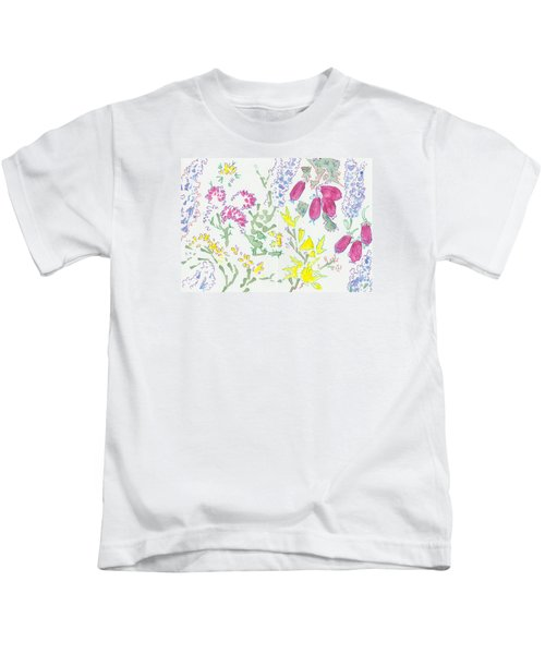 Heather And Gorse Watercolor Illustration Pattern Kids T-Shirt