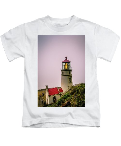 Heceta Head Lighthouse In The Fog Kids T-Shirt