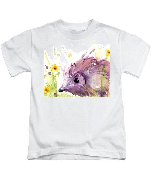 Hedgehog In The Wildflowers Kids T-Shirt