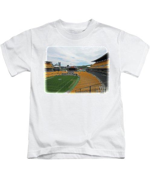 Heinz Stadium With Pittsburgh Skyline Kids T-Shirt