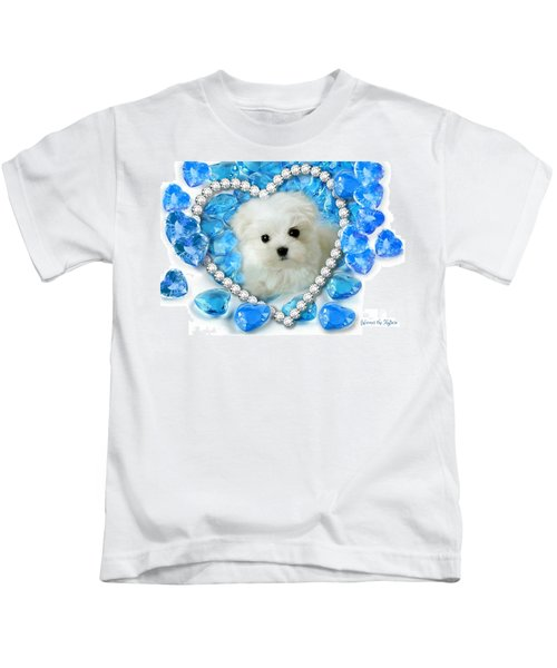 Hermes The Maltese And Blue Hearts Kids T-Shirt