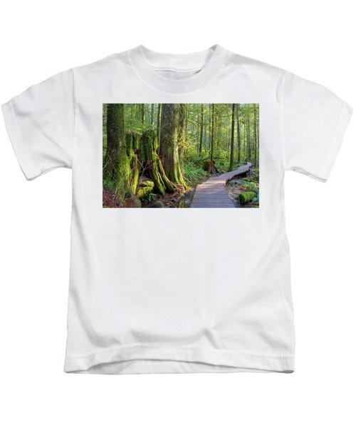 Hiking Trail Through Forest In Lynn Canyon Park Kids T-Shirt