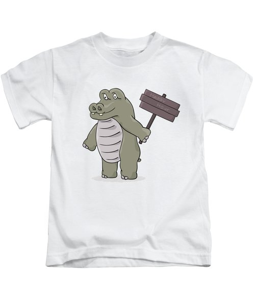 Hippopotamus With Happy Hour Sign Kids T-Shirt