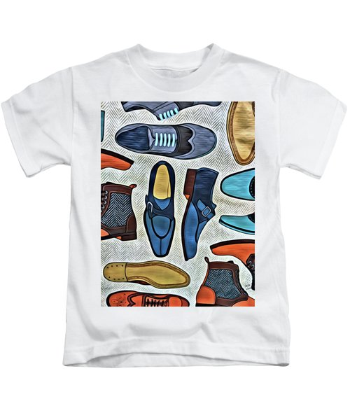 Kids T-Shirt featuring the painting His Shoes by Marian Palucci-Lonzetta
