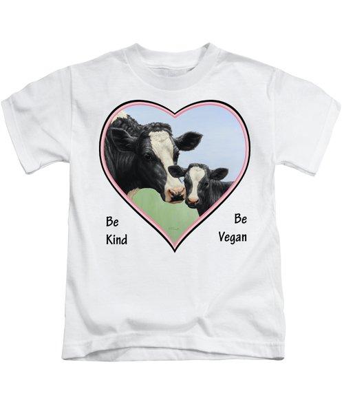 Holstein Cow And Calf Pink Heart Vegan Kids T-Shirt