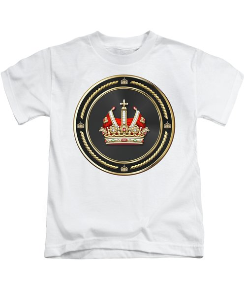 Holy Roman Empire Imperial Crown Over White Leather  Kids T-Shirt