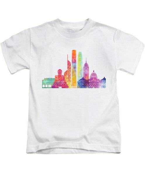 Hong Kong Landmarks Watercolor Poster Kids T-Shirt