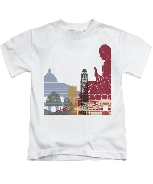 Hong Kong Skyline Poster Kids T-Shirt by Pablo Romero