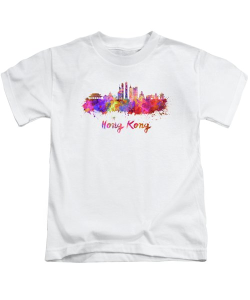 Hong Kong V2 Skyline In Watercolor Kids T-Shirt by Pablo Romero